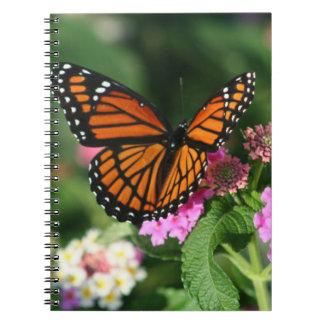 Monarch Butterfly on Lantana Flowers.Notebook Spiral Notebook