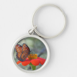 Monarch Butterfly on Mexican Sunflower Keychain