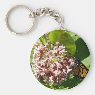 Monarch Butterfly on Milkweed Photo Basic Round Button Keychain