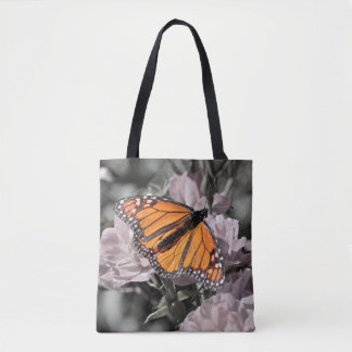 Monarch Butterfly on Muted Pink and Grey Flowers Tote Bag