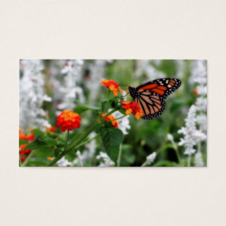 Monarch Butterfly on Orange and Red Lantana Business Card