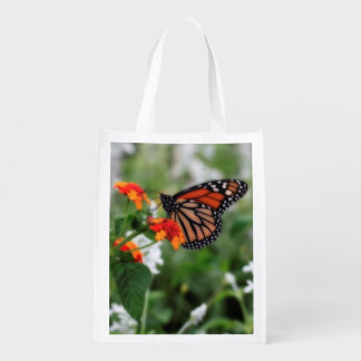 Monarch Butterfly on Orange and Red Lantana Grocery Bag