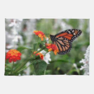 Monarch Butterfly on Orange and Red Lantana Kitchen Towels