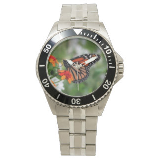 Monarch Butterfly on Orange and Red Lantana Watch