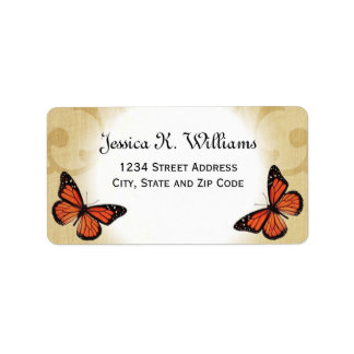Monarch Butterfly on Parchment Label