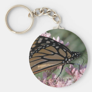 Monarch Butterfly on Pink Basic Round Button Keychain