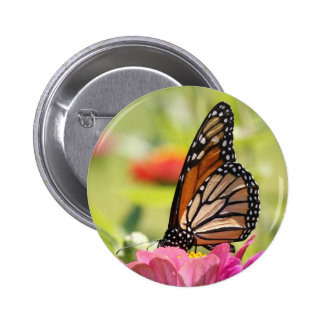 Monarch Butterfly on Pink Flower Pin