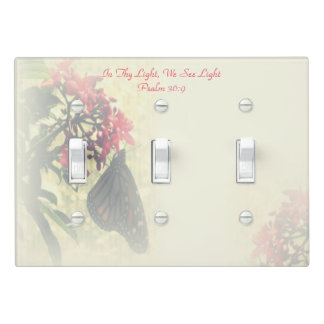 Monarch Butterfly on Pink Flower Ecu Triple Switch Plate Cover