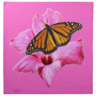 Monarch butterfly on pink Hibiscus flower Cloth Napkin