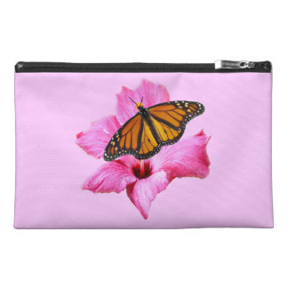 Monarch butterfly on pink Hibiscus flower Travel Accessory Bag