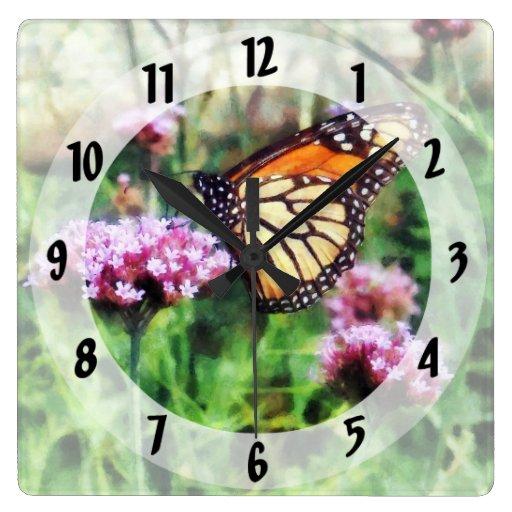 Monarch Butterfly on Pink Lantana Wall Clocks