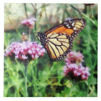 Monarch Butterfly on Pink Lantana Large Square Tile
