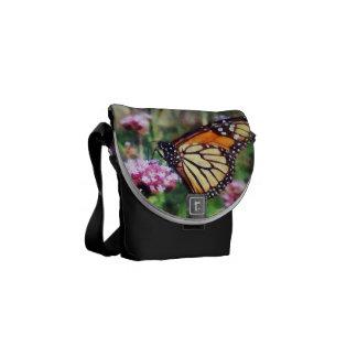 Monarch Butterfly on Pink Lantana Messenger Bags
