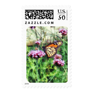 Monarch Butterfly on Pink Lantana Postage