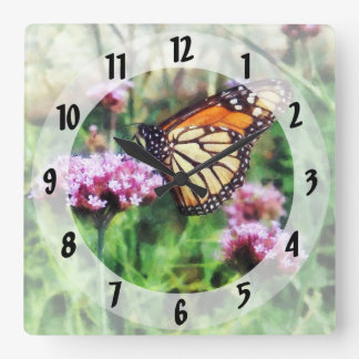 Monarch Butterfly on Pink Lantana Square Wall Clock