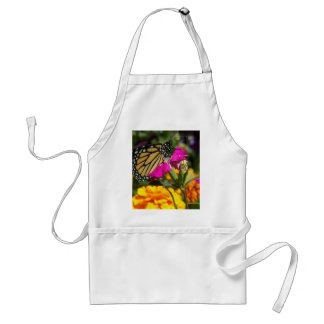 Monarch butterfly on pink marigold-Apron Adult Apron