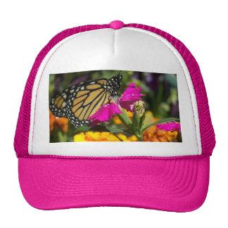 Monarch butterfly on pink marigold-hat trucker hat