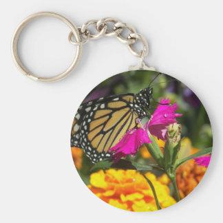 Monarch butterfly on pink marigold-keychain basic round button keychain