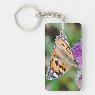 Monarch Butterfly on Purple Aster Flower Keychain