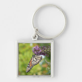 Monarch Butterfly on Purple Butterfly Bush Silver-Colored Square Keychain