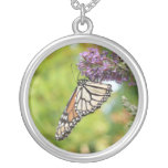 Monarch Butterfly on Purple Butterfly Bush Silver Plated Necklace