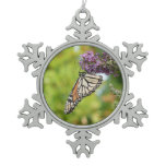 Monarch Butterfly on Purple Butterfly Bush Snowflake Pewter Christmas Ornament
