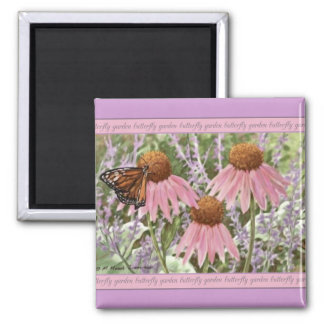 Monarch Butterfly on Purple Coneflowers Painting Magnet