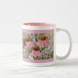 Monarch Butterfly on Purple Coneflowers Painting Two-Tone Coffee Mug