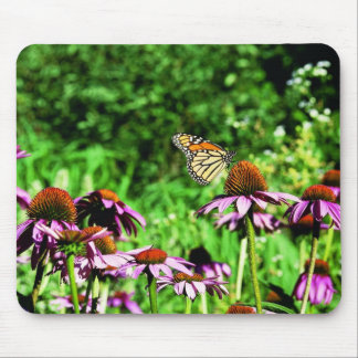 Monarch butterfly on purple prairie coneflower mouse pad