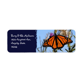 Monarch Butterfly on Purple Thistles Dark Blue Label