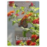 Monarch Butterfly on Red Butterfly Bush Clipboard