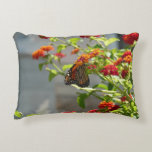 Monarch Butterfly on Red Butterfly Bush Decorative Pillow