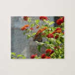 Monarch Butterfly on Red Butterfly Bush Jigsaw Puzzle