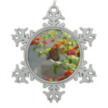 Monarch Butterfly on Red Butterfly Bush Nature Snowflake Pewter Christmas Ornament