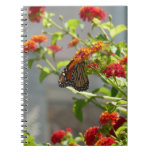 Monarch Butterfly on Red Butterfly Bush Spiral Notebook
