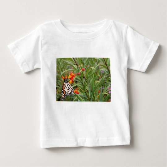 Monarch butterfly on red orange flower plant baby T-Shirt