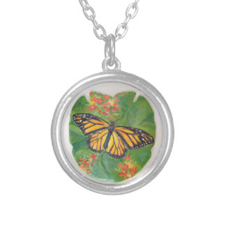 Monarch Butterfly on Sand Dollar Necklace