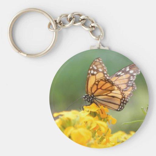 Monarch Butterfly on Siberian Wallflowers Keychain