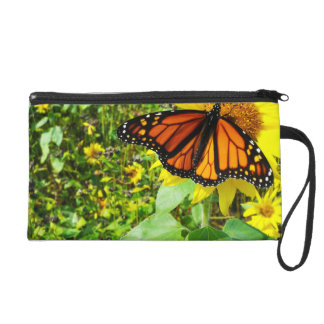 Monarch Butterfly on Sunflower Wristlet Purse