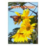 Monarch Butterfly on Sunflower Birthday Card