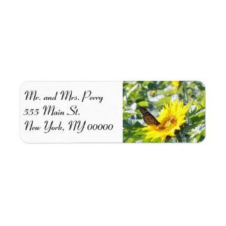 Monarch butterfly on sunflower label