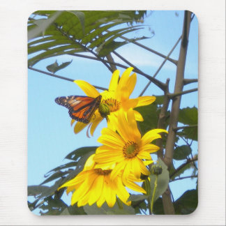 Monarch Butterfly on Sunflower mouse pad