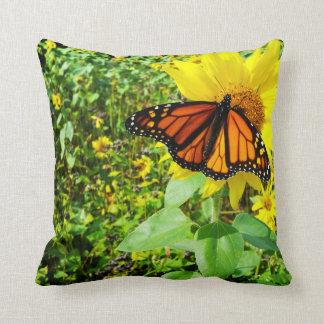 Monarch Butterfly on Sunflower Throw Pillow