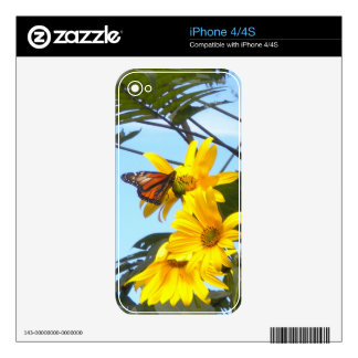 Monarch Butterfly On Sunflowers iPhone 4  Skin Decals For The iPhone 4