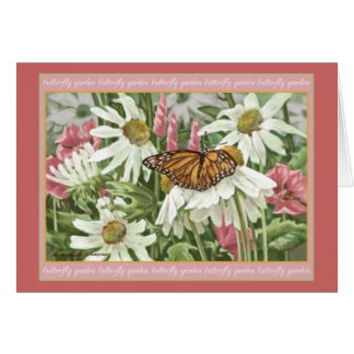 Monarch Butterfly on White Coneflowers Painting Card