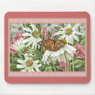 Monarch Butterfly on White Coneflowers Painting Mouse Pad