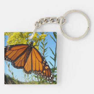 Monarch butterfly on yellow flower pretty colors keychain