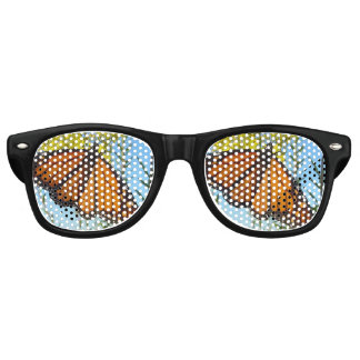 Monarch butterfly on yellow flower pretty colors retro sunglasses