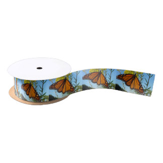 Monarch butterfly on yellow flower pretty colors satin ribbon