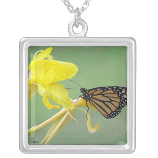 Monarch butterfly on yellow flower simple back square pendant necklace